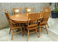 Solid Wood extendable Table with 6 chairs delivery available
