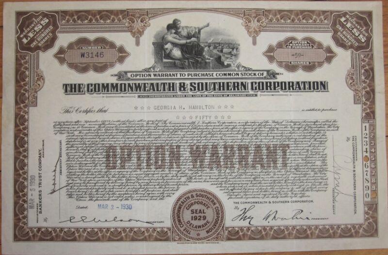 1930 Stock Warrant Certificate: