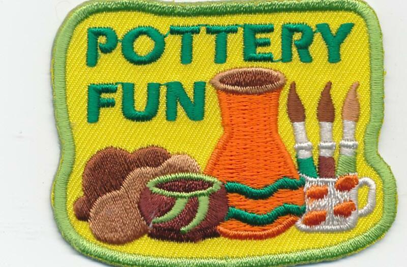 Girl Boy Cub POTTERY FUN Class Making Patches Crests Badges SCOUTS GUIDE Ceramic