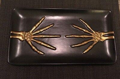 Cost Plus World Market Gold Skeleton Hand Platter 11x6 Hallowe'en - World Market Halloween