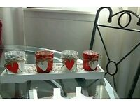 4 x candle holders wooden love hearts