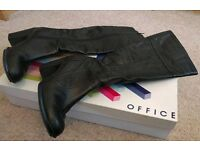 Ladies black leather calf-length 'Office' boots