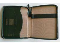 Green Vintage Leather Notebook Portfolio Case with Calendar