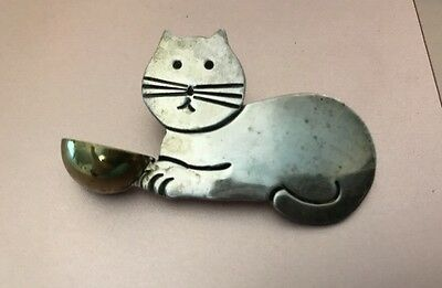 SILVER CAT PIN with Brass Bowl Vintage TAXCO MEXICO Sterling 925 BROOCH Jewelry