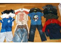 Boys summer clothes bundle. Age 5-6. Inc M&S. T-shirts, shorts, fleeced, jeans