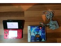 Nintendo 3DS Red Console and Wall-E Game with Charger and Stylus