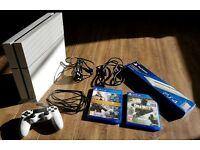 White PS4 (playstation 4), controller, stand, 2 games