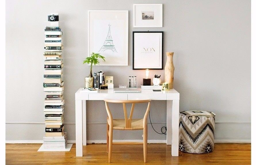 White Compact Desk With Draw Ikea West Elm Mini Parsons