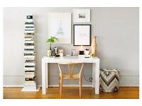 White Compact Desk with Draw - West Elm Mini Parsons Desk