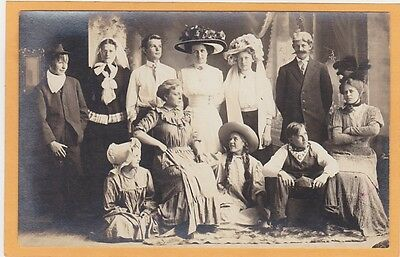 Studio Real Photo Postcard RPPC - Group of People in Costume - Play? - Fun Group Costumes