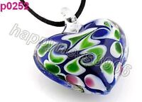 heart lampwork glass bead pendant necklace --NEW!