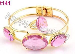 crystal metal bracelet and ring--pink---NEW!!