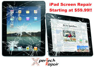 Cracked iPad 2/3/4 screen replacement $60,  iPad mini 1,2 $60