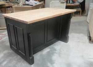84''  black kitchen Island with 6 doors