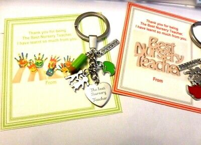 Thank you Gift for Best Nursery Teacher Key Ring on Gift Card +Organza Gift