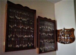 Wood & Glass Display Cabinets with or w/o Collector Spoons