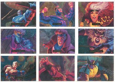 1994 MARVEL MASTERPIECES Powerblast INSERT/CHASE 9-CARD SET