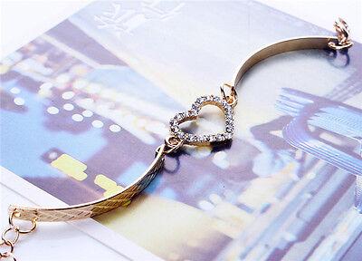 Fashion Cute Gold Love Heart crystal diamond Bangle Cuff Bracelet (Diamond Heart Fashion Bangle Bracelet)