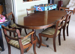 Mahogany Regency Style dining table and 6 chairs
