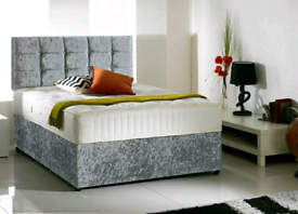 """Brand New 4'6""""ft (double) Crushed Velvet bed and headboard"""