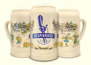 FIVE Steam Whistle Beer Glass Stein Mugs~! (2 clear + 3 pottery)
