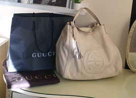 GUCCI SOHO TOTE BAG CREAM LEATHER EXTRA LARGE