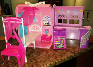 BARBIE Princess Pop Star HOUSE Fold N Play Travel Carry Case Pla