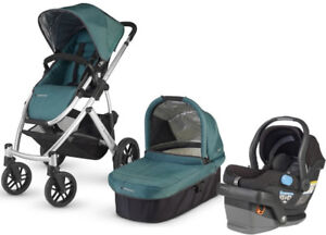 Uppababy Vista Stroller-bassinet+diaper bag car seat +adapter