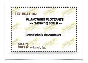 "(444-2)  LIQUIDATION..  PLANCHERS > FLOTTANTS À ""MOIN"" {{ 50% }}"