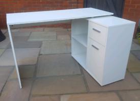 White L Shaped Corner Desk - Drawers, Shelves, Storage