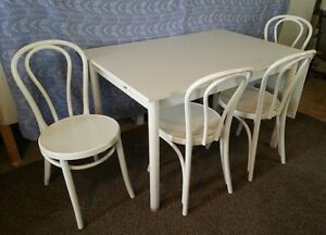 IKEA drop leaf table with 4 chairs