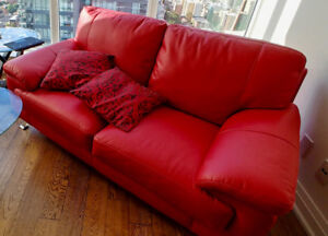 Barely Used Red Leather Couch and Reclining Chair