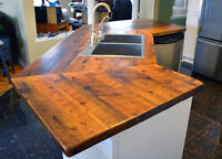 Custom Reclaimed Barn Wood Countertops