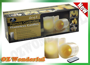 3 LED Wax Flameless Candles Real Wax With Remote Control Ivory Pillar Candles
