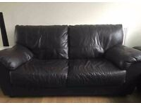 3 seater and a 2 seater brown leather