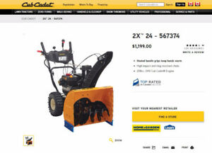 Almost New - Cub cadet 24 inch 208cc gas snow blower