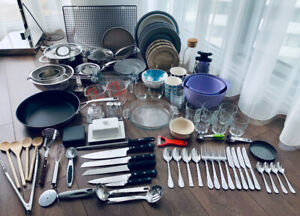 LOT OF PREMIUM KITCHEN DINING WARE POTS PANS DISHES UTENSILS ++