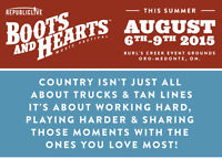 Weekend pass for Boot's and Heart tickets