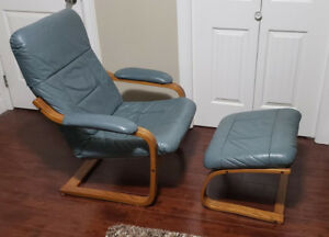 Chair and footstool - blue leather