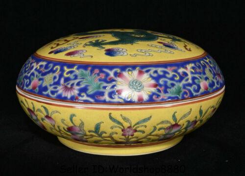 "7.6"" Yongzheng Marked China Famile Rose Porcelain Dragon Peach Round Jewelry box"