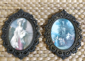 Pair of antique Cheswick ornate small metal frames