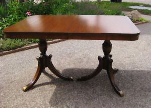 A1! ***Antique Double Pedestal Duncan Phyfe Table, 6 Chairs