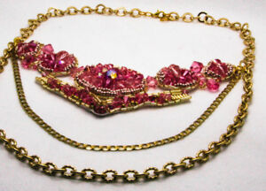 Pink Swarovski Crystal and Gold Statement Necklace