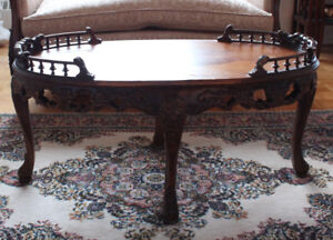 Antique Oak Carved w Veneer inlay Coffee Table