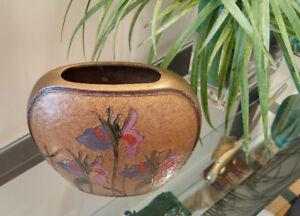 Vase à fleur métallique peint à la main 7,5 pc haut, 7,5 pc larg