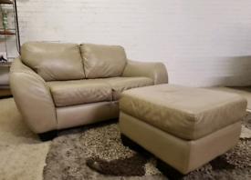 Designer Italian Leather 2 Seater Sofa With Foot Stool