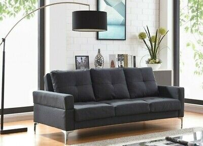 3 Seater Sofa Bed Charcoal Fabric Recliner Sofabed Metal Legs