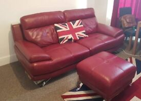 Red Leather Harveys 3 Seater Sofa 1 Yr Old with foot stool