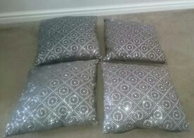 NEXT, Grey sequin cushions, (sparkly) 4 in total.