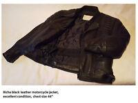 "Mens Leather Motorcycle Jacket, Size 44"""